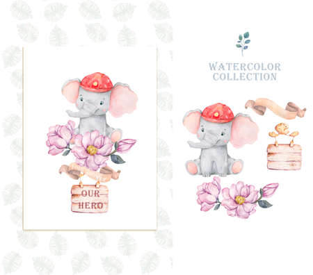 Baby shower posters, invites. Cards with cute unicorns and hand drawn font on white background, pastel colors