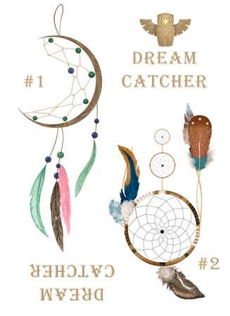 Watercolor boho illustration. Tribal set with dream catcher Stock Photo