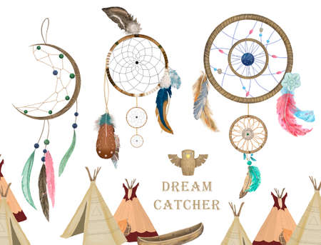 Watercolor boho illustration. Tribal set with dream catcher Stok Fotoğraf
