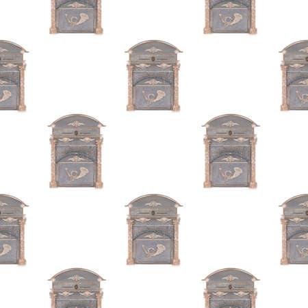 Cartoon hand darwn Italy mail box illustration. Vintage post. background pattern with blue mail boxes