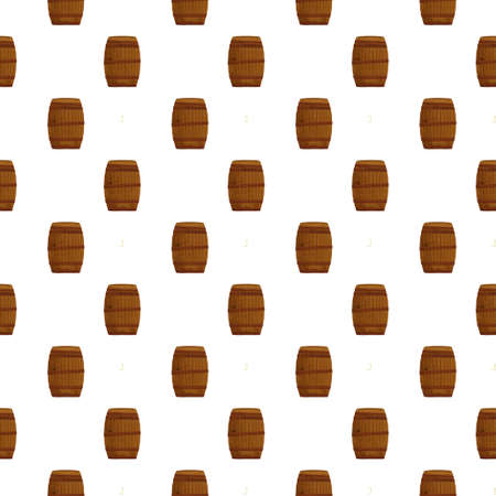 Cartoon pattern of wooden wine or beer barrels illustration on white background. Vintage clip art retro style Stock Photo