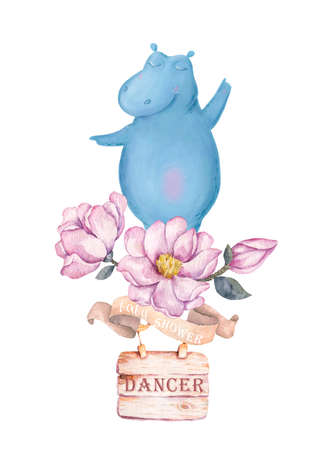 Background with cute little hippo for baby shower, greeting card, t-shirt design Zdjęcie Seryjne