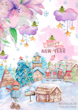 Cute cartoon christmas rat mouse and owl christmas card. Watercolor hand drawn animal illustration. New Year 2020 holiday drawing. Colorful funny rats wood frame for greeting card