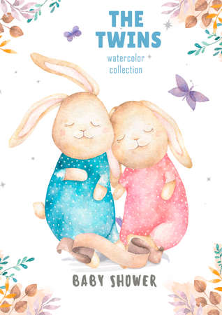 Cute watercolor Twins Bunny birthday greeting cards,posters for baby room, baby shower, invite, kids and baby t-shirts and wear. Hand drawn nursery illustration. Funny animal and cotton Foto de archivo - 134805710