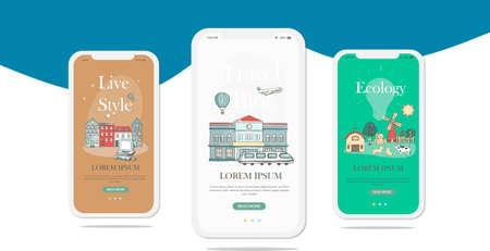 Set of onboarding screens user interface kit for Travel, Journey, Traveler, mobile app templates concept. Modern UX, UI screen for mobile or responsive web site. Çizim