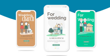 Marriage on mobile app onboarding screens. Flat icons, offer to get married, wedding, honeymoon on samples. Banners for website and mobile kit development. UI UX GUI template.