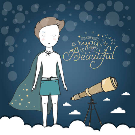 Little boy , night sky with shiny clouds. Childhood dream, creative imagination concept Hand Ilustrace