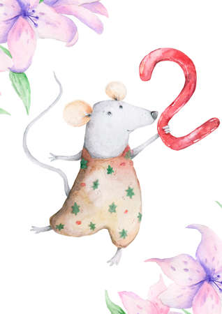 Cute watercolor Twins Mouse birthday greeting cards,posters for baby room, baby shower, invite, kids and baby t-shirts and wear. Hand drawn nursery illustration. Funny animal and cotton Foto de archivo - 134805718