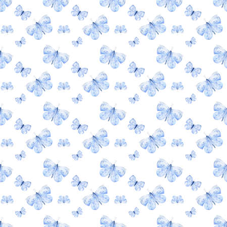 Watercolor Butterflies Background. Hand Drawn Pattern. Isolated Illustration. Design for wedding and greeting cards, printing on fabric on white background