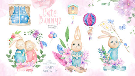 Cute watercolor set of Bunnys birthday greeting cards,posters for baby room, baby shower, greeting card, kids and baby t-shirts and wear. Hand drawn nursery illustration. Funny animal and pink leaves Stock fotó