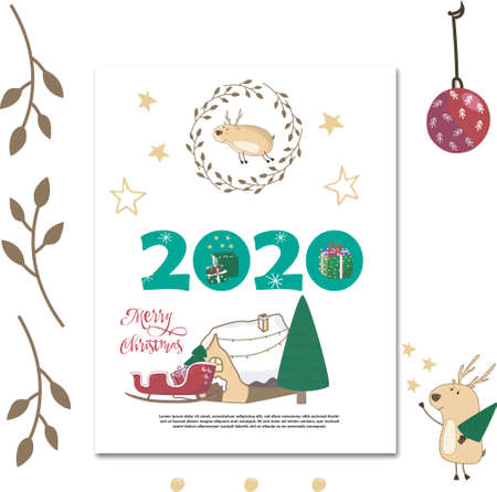 Santa Claus on sledge withwinter background with pine forest, stars, branch frame and lonely greeting card. Hand drawn cartoon vector illustration on white background Ilustração