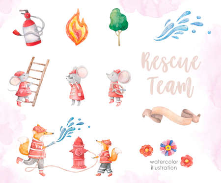 cute little elephant, goose and fox watercolor illustration set in floral frames animal. Baby colorful nursery clip art on white background. Fireman set, little heroes for kid toys and games