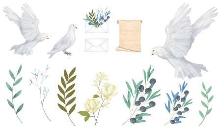 Pigeon clip art digital drawing watercolor bird fly flowers illustration similar Reklamní fotografie