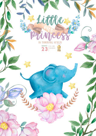 Baby shower invitation card. Greeting, invite, poster of nussery illustration for child Foto de archivo - 134805812
