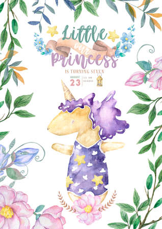 invitations for baby shower with cute unicorn, Its a girl cards, can be used as template for girls birthday party design,  illustration