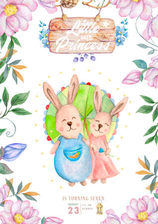 Watercolor isolated cute watercolor Bunny family clipart. Nursery rabbit illustration. Baby poster. Trendy pink cartoon animal. Birthday invite card, Dreamer style, Celebration postcard Foto de archivo - 134805842