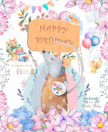 Cute watercolor little mouse drawing and roccoon cartoon hand drawn illustration print, fashion print design, baby shower celebration, greeting and invitation card Pink flowers with floral frame Foto de archivo - 134805845