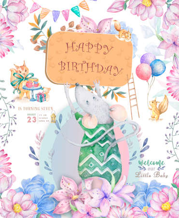 Cute watercolor little mouse cartoon hand drawn illustration print, fashion print design, baby shower celebration, greeting and invitation card Pink flowers with floral frame