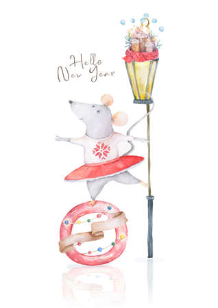 Cute little mouse gilrl. cartoon hand drawn illustration. Can be used for baby t-shirt print, fashion print design, kids wear, baby shower celebration, greeting and invitation card. Foto de archivo - 134805882