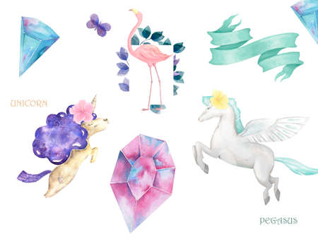 Unicorn and Pegasus and Flamingo cute clip art with ribbon and crystal.