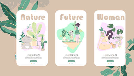 Feminine concept illustration, beautiful women in different situations and plants with android robot Helpful concept. Mobile UI UX GUI template, app interface wireframe Illustration