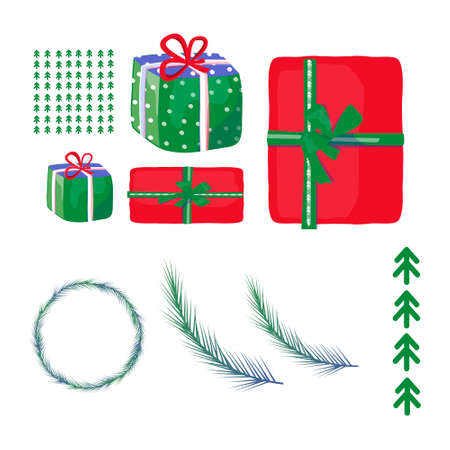 Set of Santa Clauses ready for Christmas Christmas Tree. Text. Vector illustration. Clip art. Gift box new years eve. Cartoon colorful vector