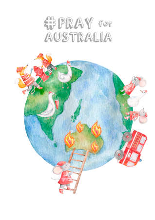 Australia fire with  of fire man or firefighter help koala with kangaroo baby and carrying water tube to stop fire pray for australia concept 写真素材