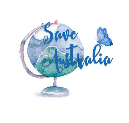 Pray for Australia poster. Australia on fire. Kangaroo, save, forest illustration