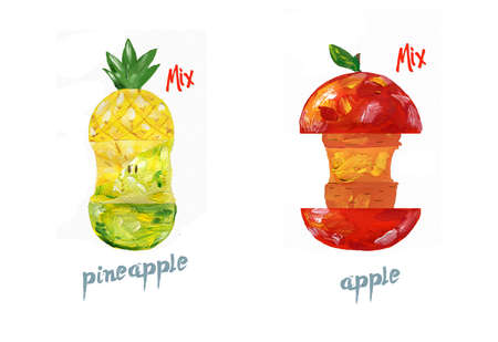 Cut red apple and pinapple watercolor fresh clip art juice style color drawing on white background. 写真素材