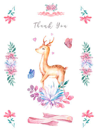 Cute baby deer and roccoon with tasty cake animal isolated illustration for children. Bohemian watercolor boho forest deer family watercolor drawing. Perfect for nursery posters. Birthday invite.