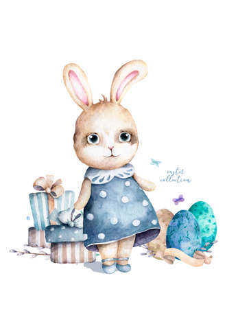 Hand drawn watercolor happy easter set with bunnies design.Rabbit bohemian style, isolated boho illustration on white. 스톡 콘텐츠