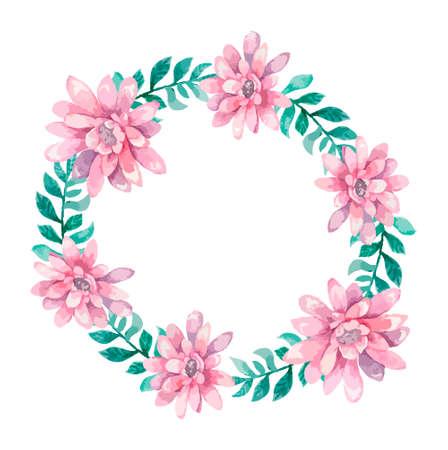 Invitación. Tarjeta de boda o cumpleaños. Marco floral. Fondo de acuarela con flores.