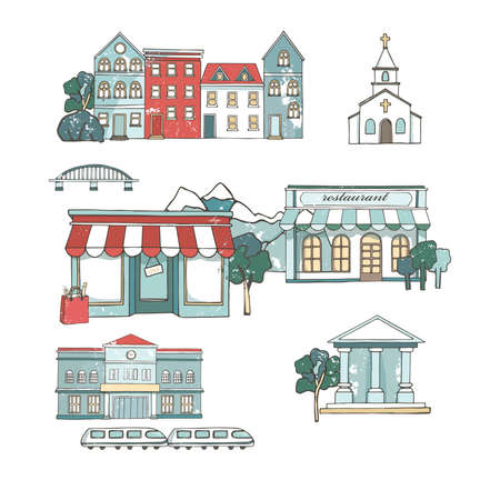City places set with buildings in flat design. Cafe restaurant, music theater, house, Cathedral, barn, museum, mill, station, chaurch. Urban collection. Hand drawn illustration Grunge style clip art