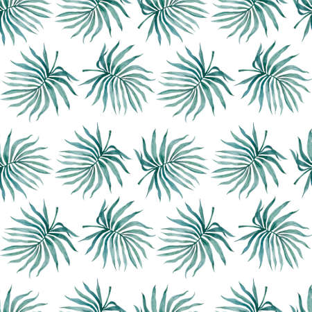 Watercolor tropical palm leaves seamless pattern. illustration. Reklamní fotografie
