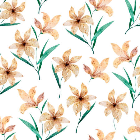 Seamless flower pattern beautiful lily flowers in watercolor style on white background