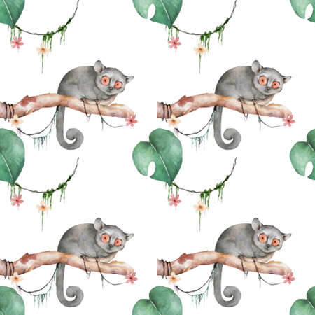 Mouse lemur pattern. Hand drawn cute watercolor cartoon mouse lemur on tree with jungle leaves white background