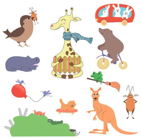 Vector set of cute wild animals in the forest fox, bear, hedgehog, rabbit, snail, deer, owl, bird, mouse. Vintage set.