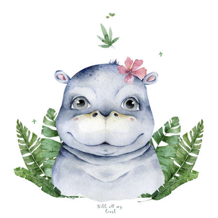 Hand drawn cute isolated tropical summer watercolor hippo animals. hippopotamus baby and mother cartoon animal illustrations, jungle tree Stockfoto