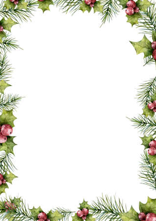 Merry Christmas mistletoe with berry frame. Watercolor traditional greeting card. Holiday floral design isolated on white background.