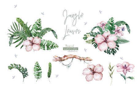 Pink flower wreath. Tropical leaves with beauty flowers Hand drawn watercolor illustration on white background. Design element Archivio Fotografico