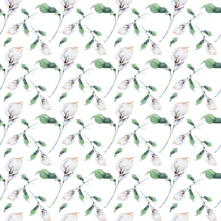 Hand drawn watercolor white calla lily flowers and green leaves Seamless pattern on white background