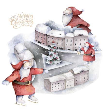 Hand drawn scandinavian watercolor illustrations set of Christmas Santa on square in the city, cute little Gnomes isolated Reklamní fotografie