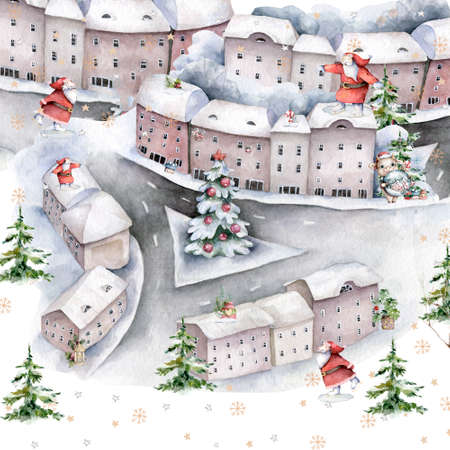 Happy Christmas in the city square around santa and tree under the snow. Hand drawn winter isolated illustration Reklamní fotografie
