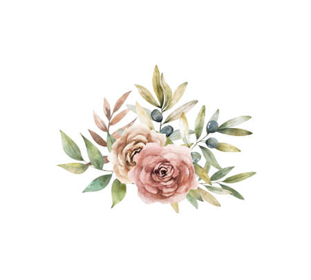 Wreath brown set with flowers and leaves. Watercolor bouquet for greeting, invite, wedding card. Isolated clipart on white background