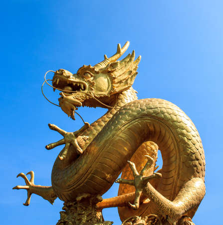 Gold chinese dragon sculpture on blue background. photo