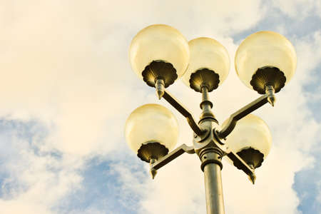 lamp pole in the evening photo