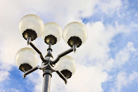 lamp pole with blue sky background photo