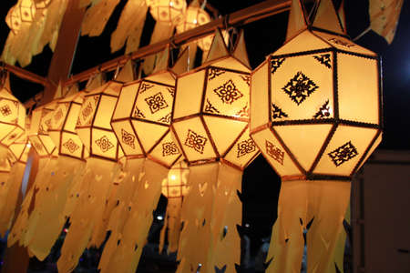 Thai Yellow Lantern in a Row Stock Photo - 11930583