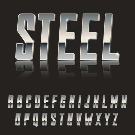 Steel, Modern 3d font made of Metal  latin font, metal typeface  realistic letters  Çizim