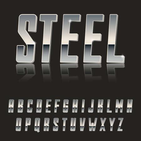 Steel, Modern 3d font made of Metal  latin font, metal typeface  realistic letters  Illustration